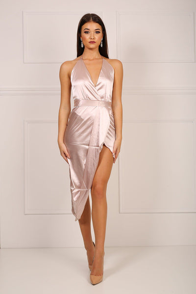 RiRi Silky Satin Dress - Beige