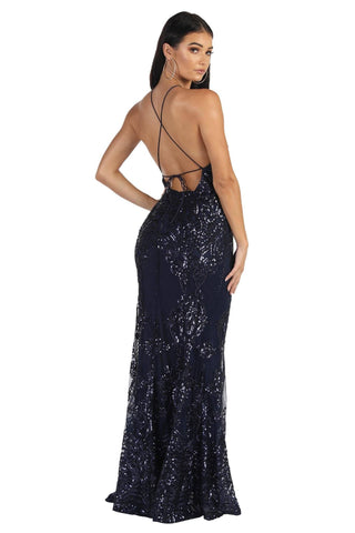 Romina Sequin Maxi Dress - Navy
