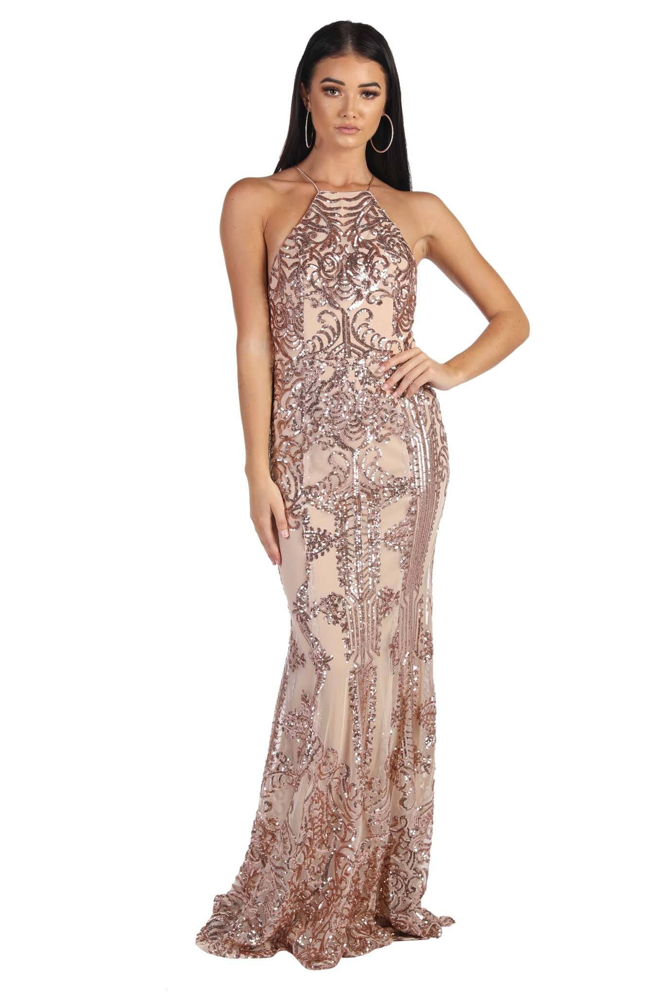 Rose Gold Maxi-Length Sequin Gown with Damask Pattern Sequins, High Racer Neckline, Strappy Lace Up Back
