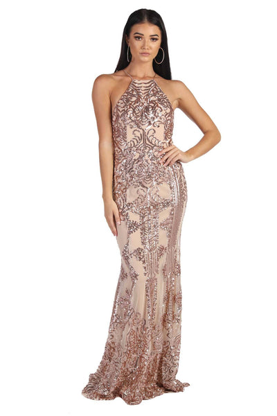 Romina Sequin Maxi Dress - Rose Gold