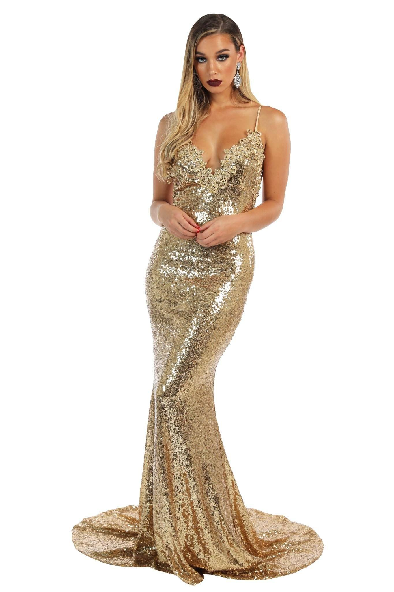 Gold sleeveless fitted sequin evening long gown featuring V neckline with beaded lace detailing, thin shoulder straps, V backless design and very long train