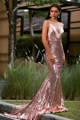 Rose Gold sleeveless fitted sequin evening long gown featuring V neckline with beaded lace detailing, thin shoulder straps, V backless design and very long train