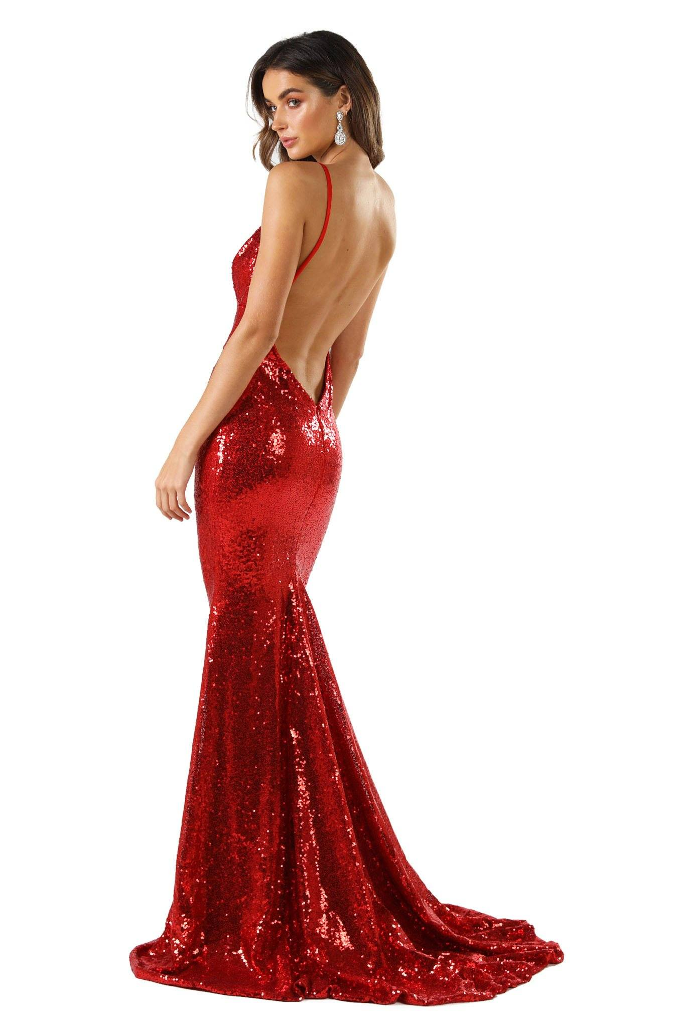 V Shape Backless Design of Bright Red Fitted Sequin Formal Sleeveless Long Gown featuring Deep V Neck, Thin Shoulder Straps, Open back design, and Long Train