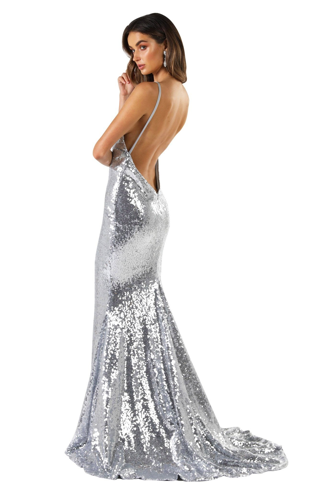 V Shape Backless Design of Silver Fitted Sequin Formal Sleeveless Long Gown featuring Deep V Neck, Thin Shoulder Straps, Open back design, and Long Train
