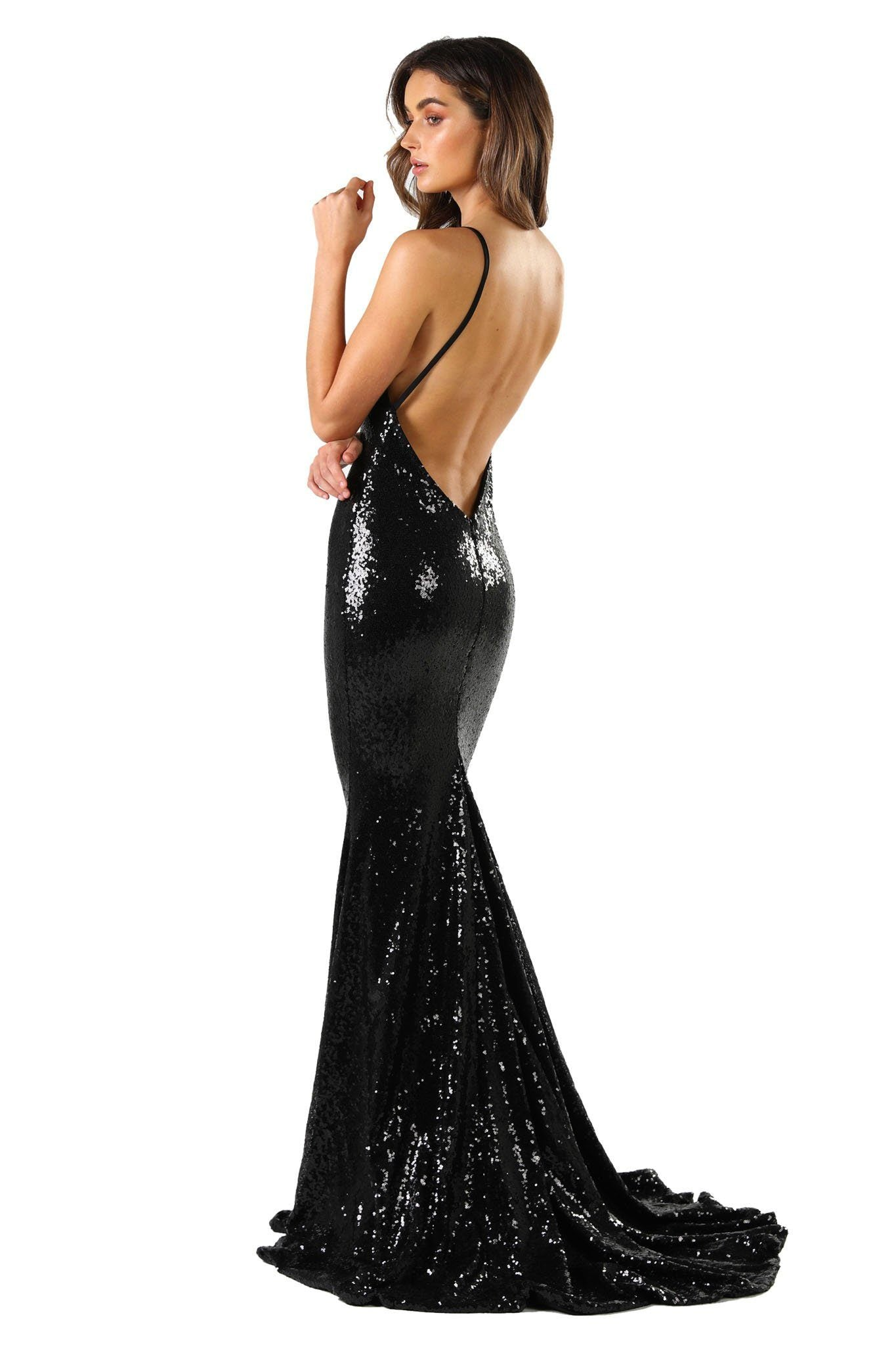 Black Sequin Formal Prom Sleeveless Gown featuring Deep V Neck, V Shaped Backless Design, Thin Shoulder Straps, and Long Train