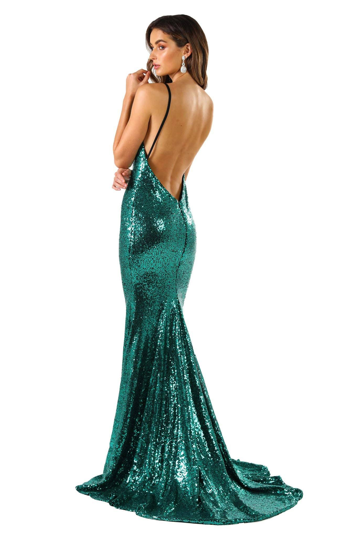 V Shaped Backless Design of Emerald Green Sequin Formal Prom Sleeveless Gown featuring Deep V Neck, Thin Shoulder Straps, and Long Train