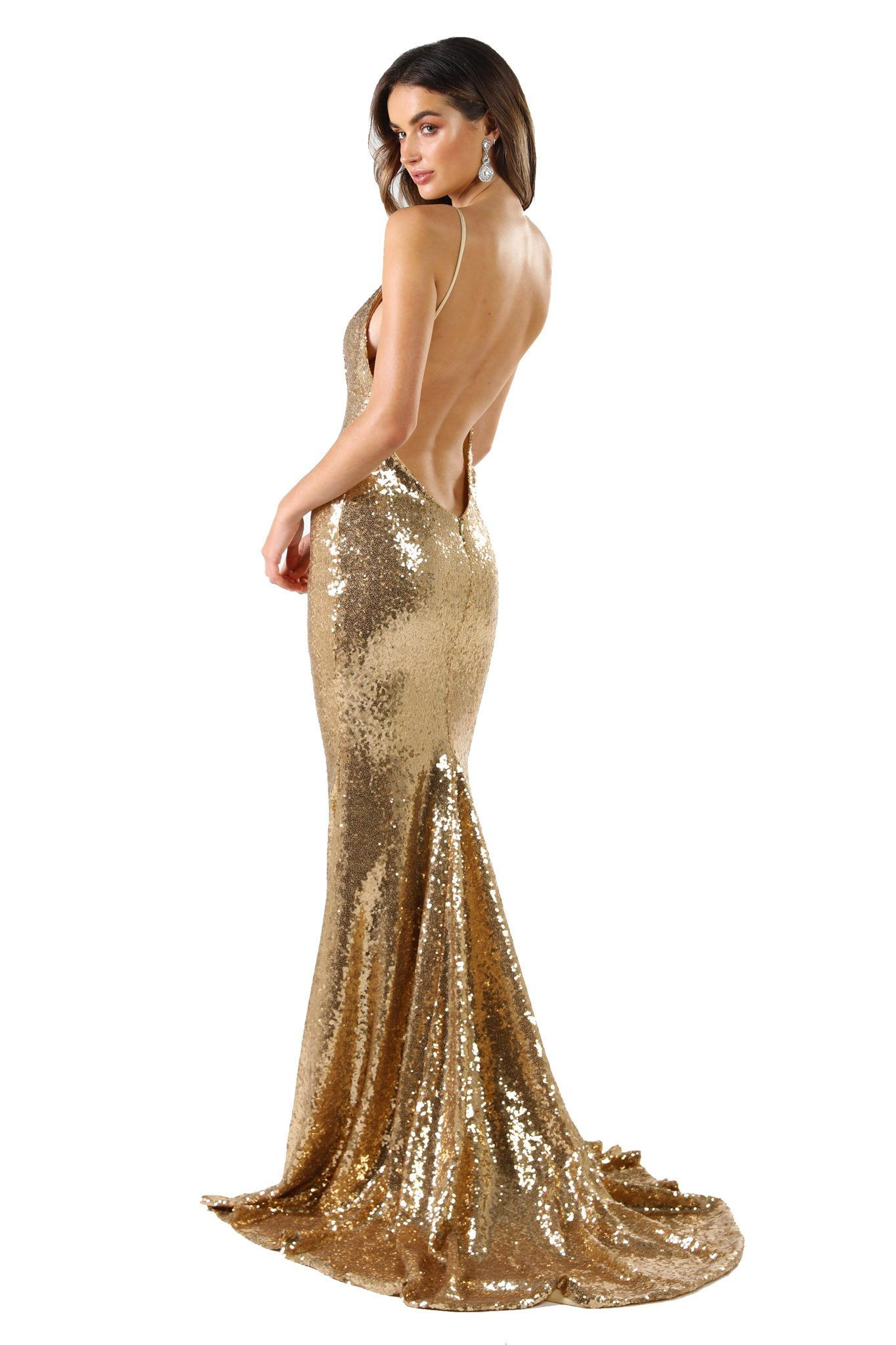 V Shaped Backless Design of Gold Sequin Formal Prom Sleeveless Gown featuring Deep V Neck, Thin Shoulder Straps, and Long Train