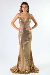 Deep V Neckline of Fitted Gold Sequin Formal Prom Sleeveless Gown with Thin Shoulder Straps, Open Back, and Long Train