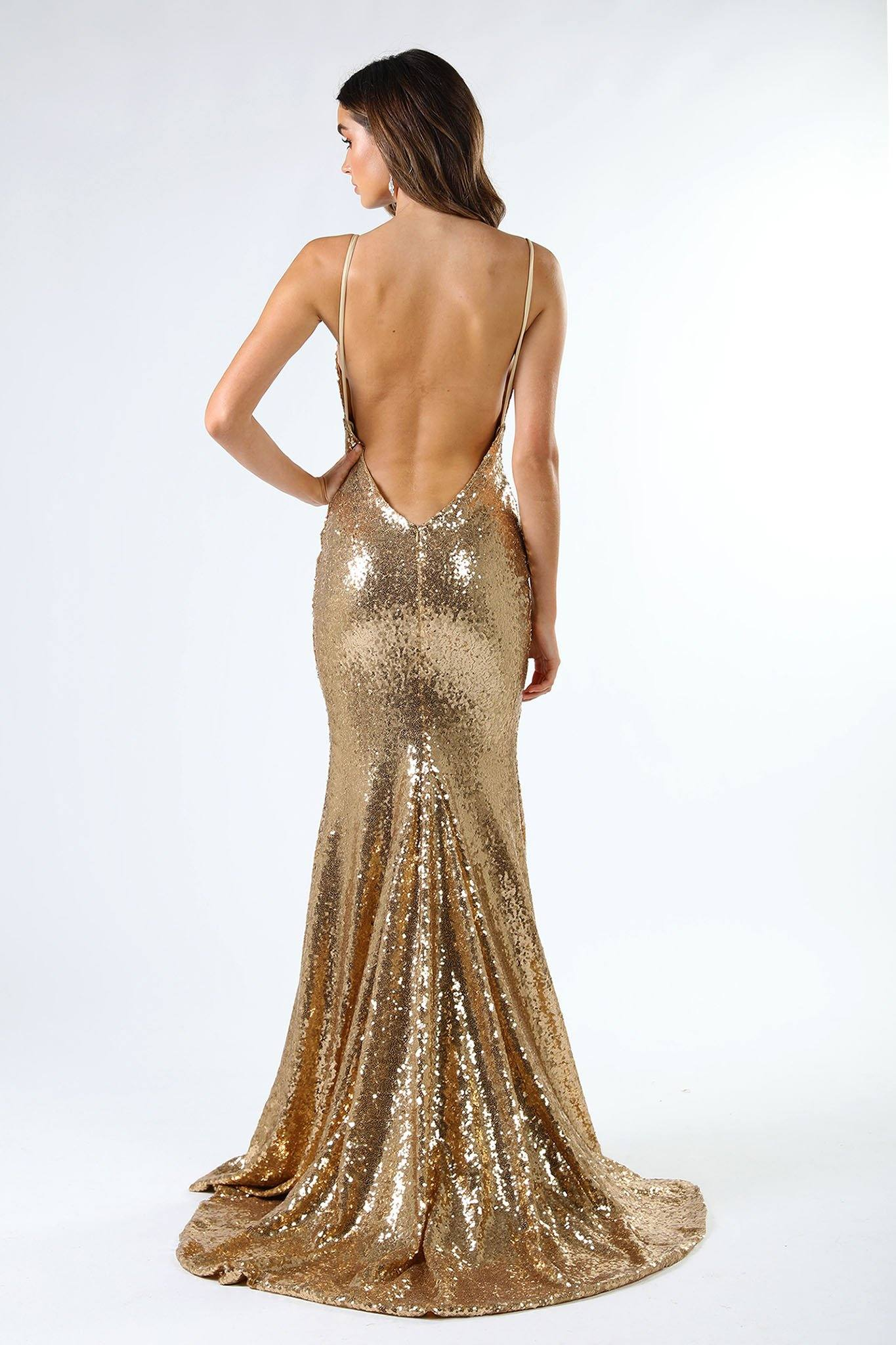 ... V Shaped Backless Design of Gold Sequin Formal Prom Sleeveless Gown  featuring Deep V Neck 260fcb4b7