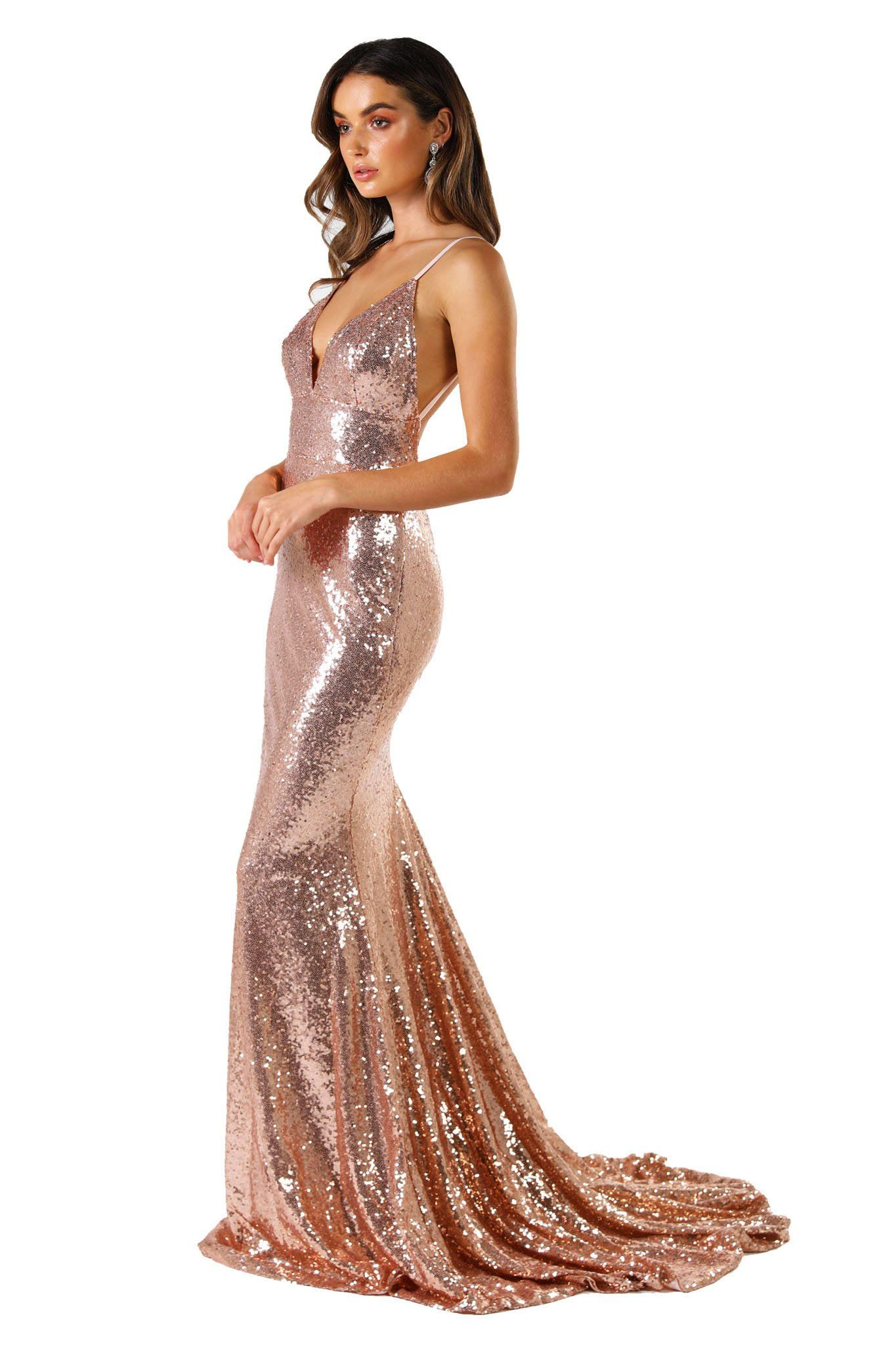 1a38d911c5267 Rose Gold Sequin Formal Prom Sleeveless Gown featuring Deep V Neck, V  Shaped Backless Design