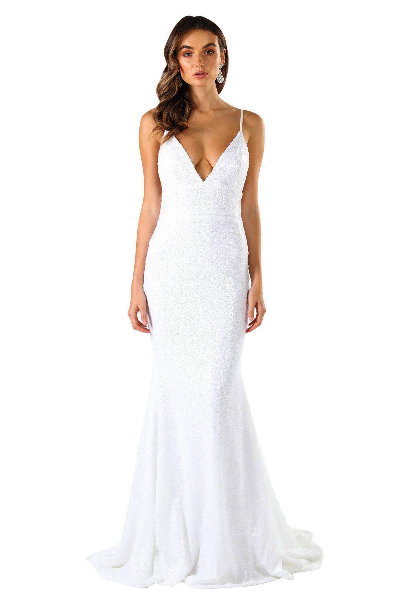 ... White Fitted Sequin Formal Wedding Sleeveless Gown featuring Deep V Neck 8c37df80c