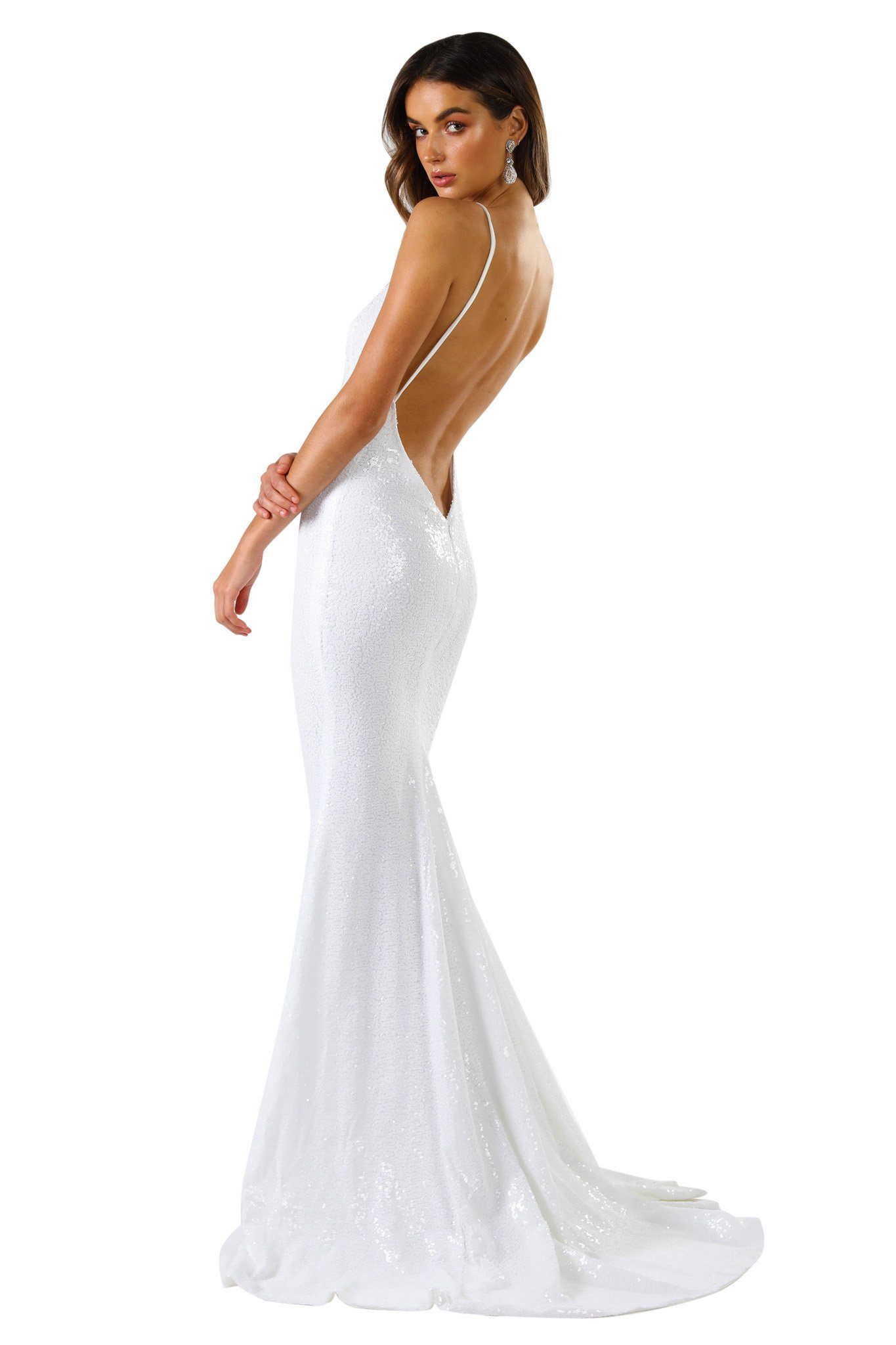 V Shaped Backless Design of Fitted White Sequin Formal Wedding Sleeveless Gown featuring Deep V Neck, Thin Shoulder Straps, and Long Train