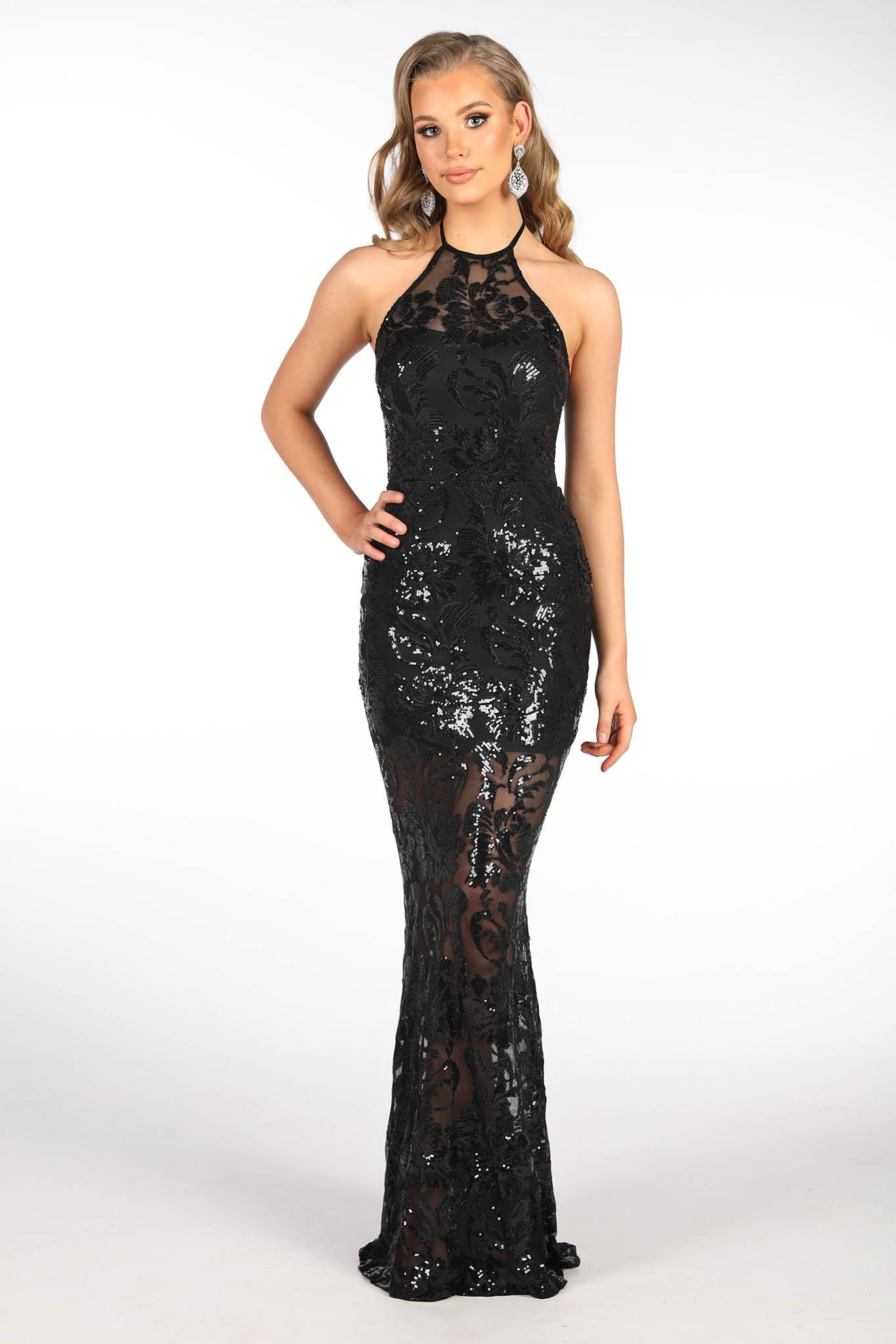 Black sheer sequin column maxi dress featuring floral pattern embroidered sequins, high racer neck, open back design and above knee length lining