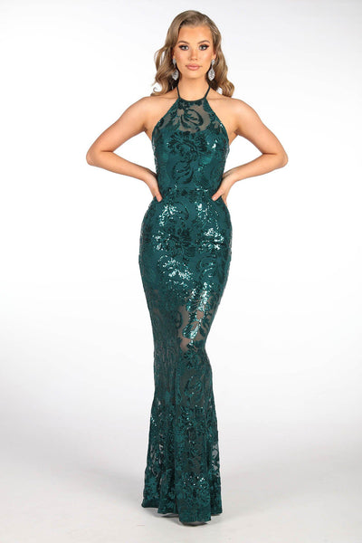 Rowan Halter Neck Sequin Maxi Dress - Emerald