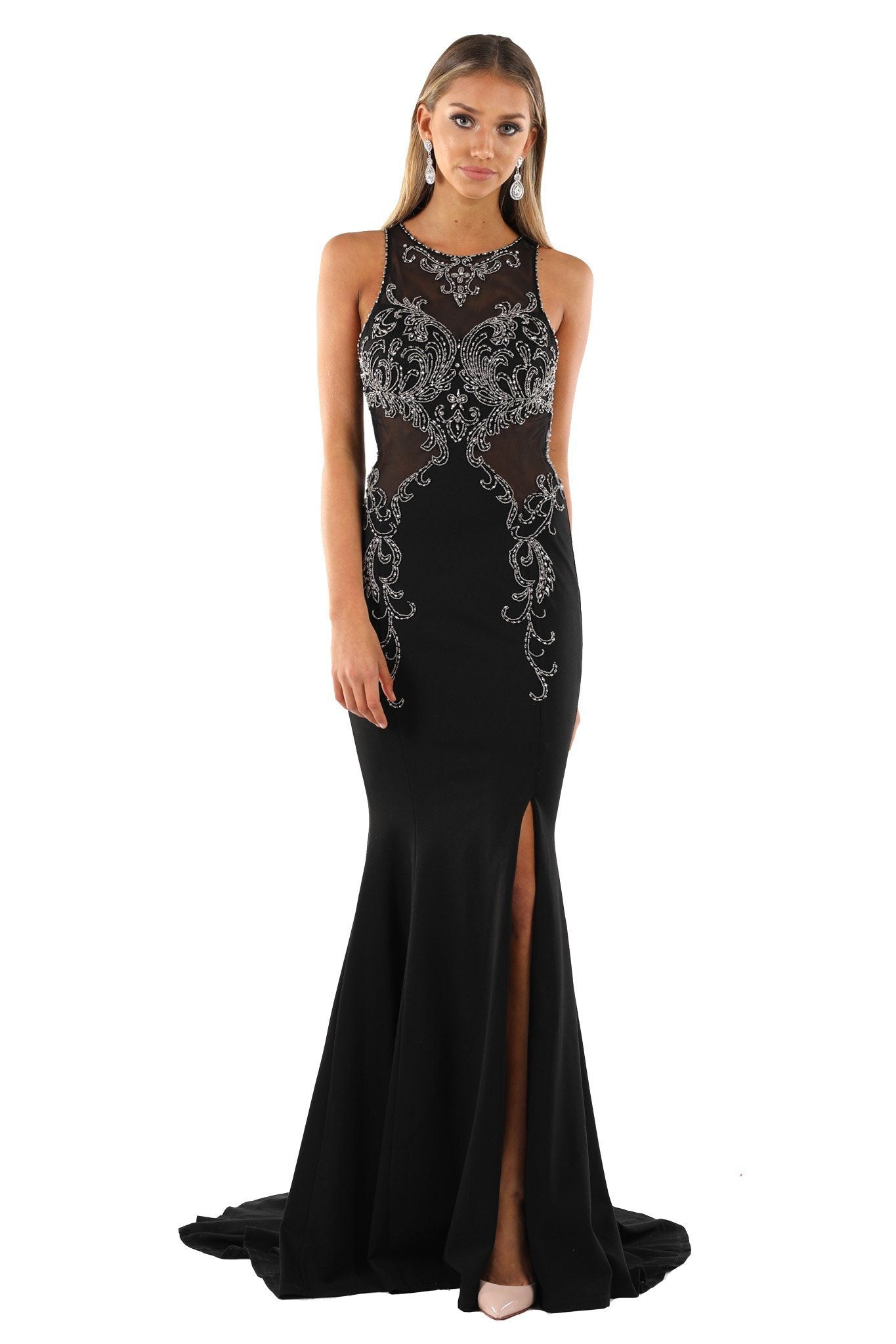 Black strapless sleeveless floor length fitted bodycon evening gown with metallic silver beading details, high slit, cut out open back, and long train
