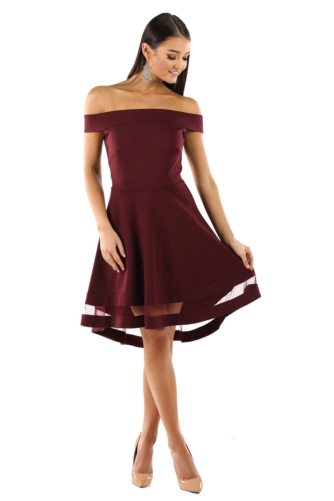 0d1f78d3 Burgundy skater dress with off the shoulder design, hi-low knee length  hemline,