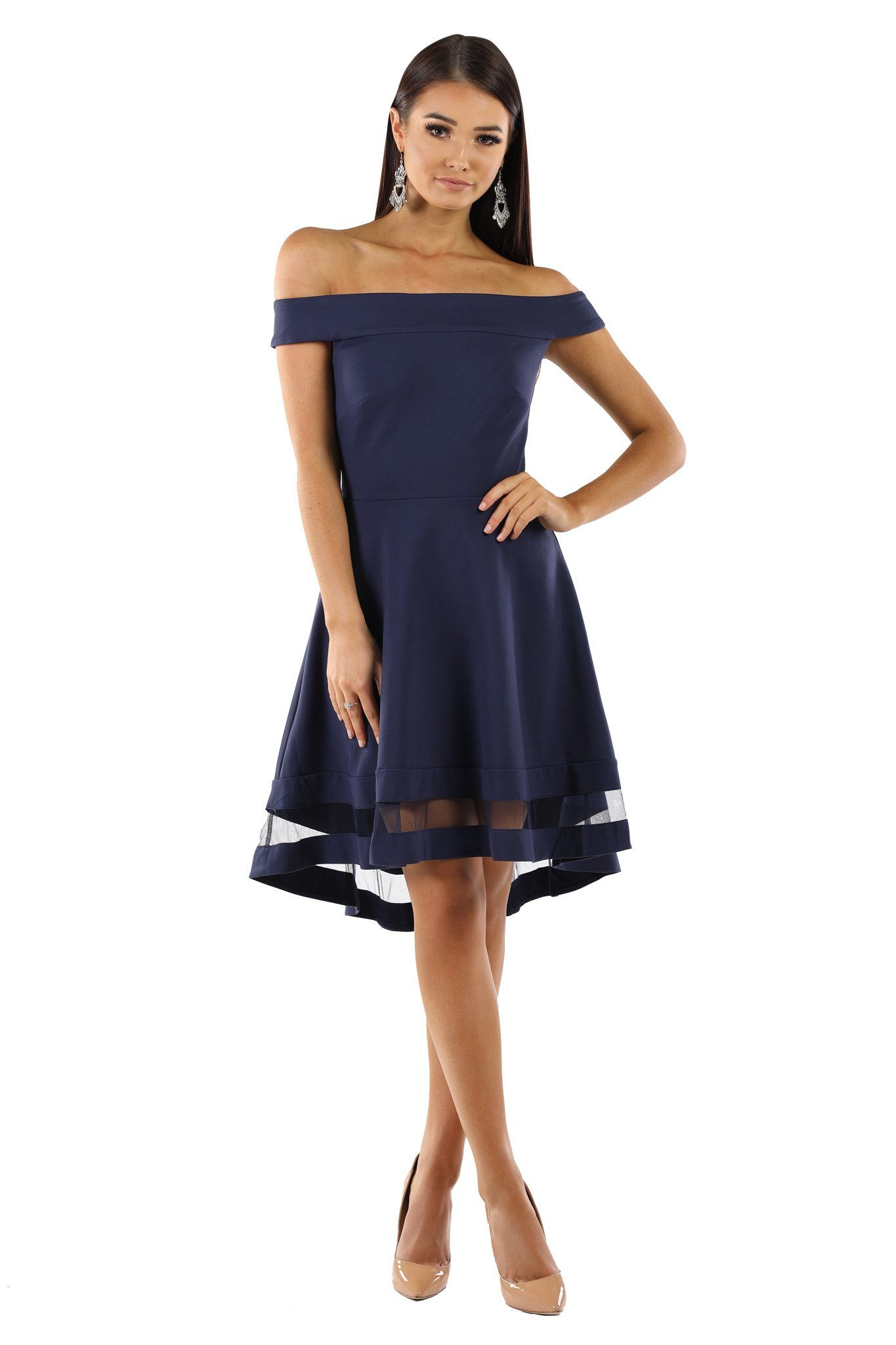 9830ee20322 Navy skater dress with off the shoulder design