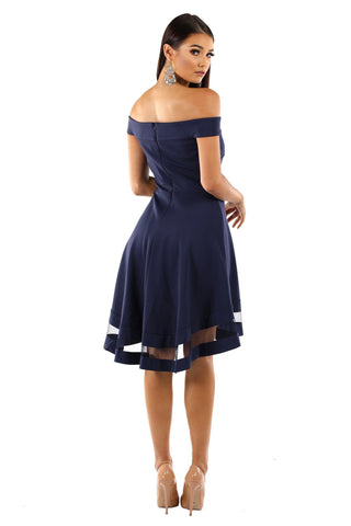Sofia Off Shoulder Skater Dress - Navy