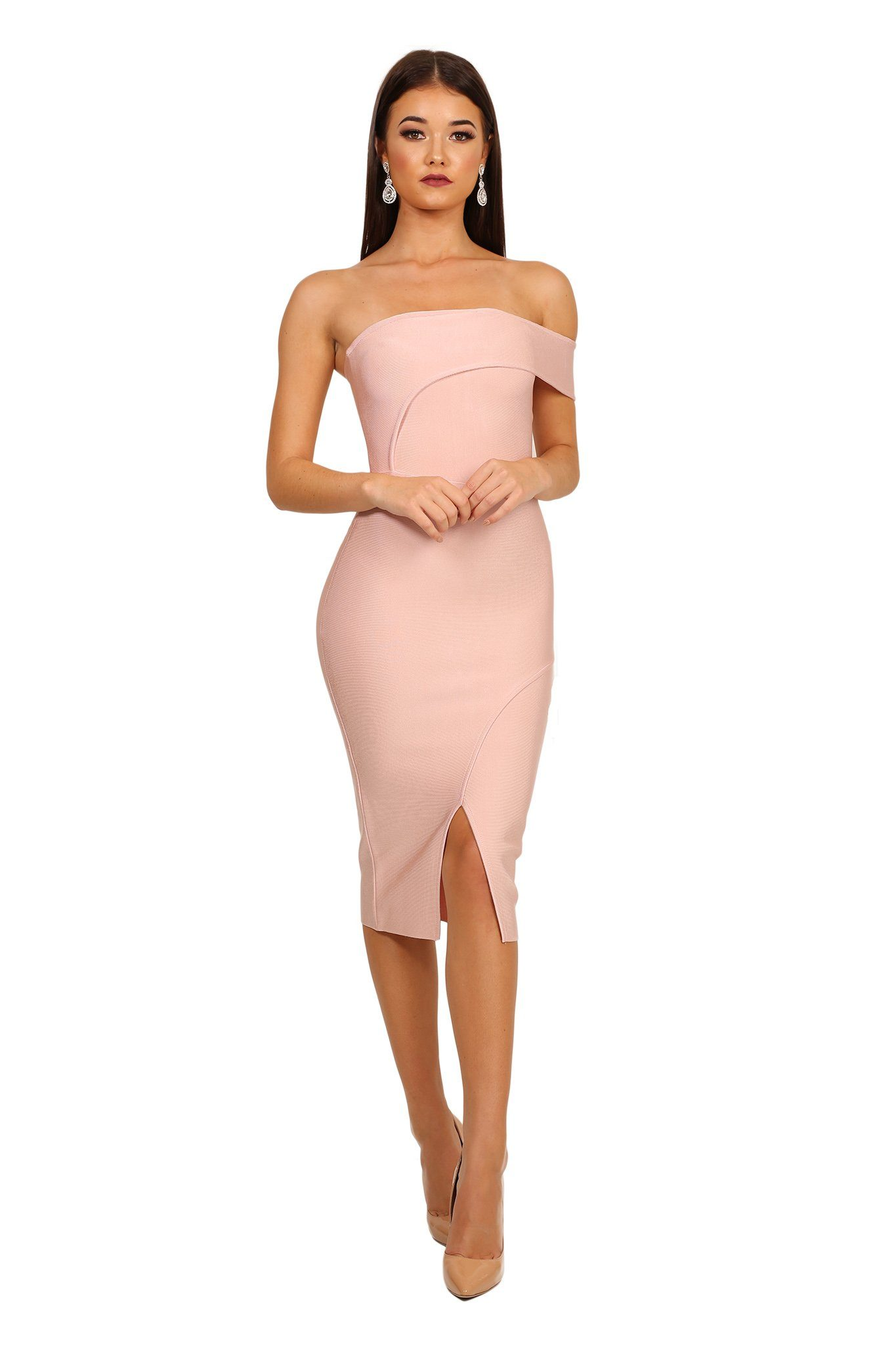 Front shot of pastel pink one shoulder bodycon midi bandage dress with front slit