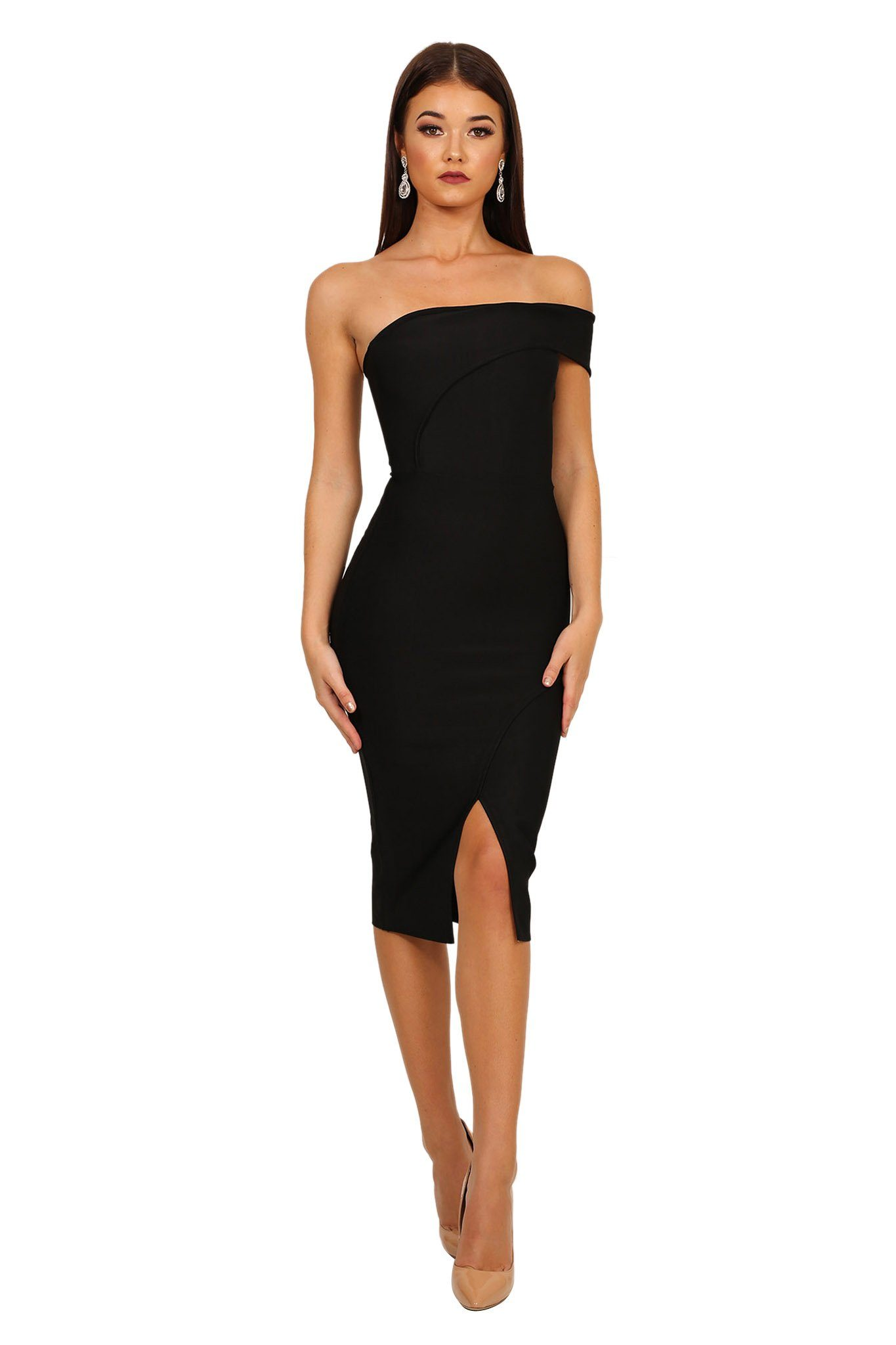 Black one shoulder bodycon midi bandage dress with front slit