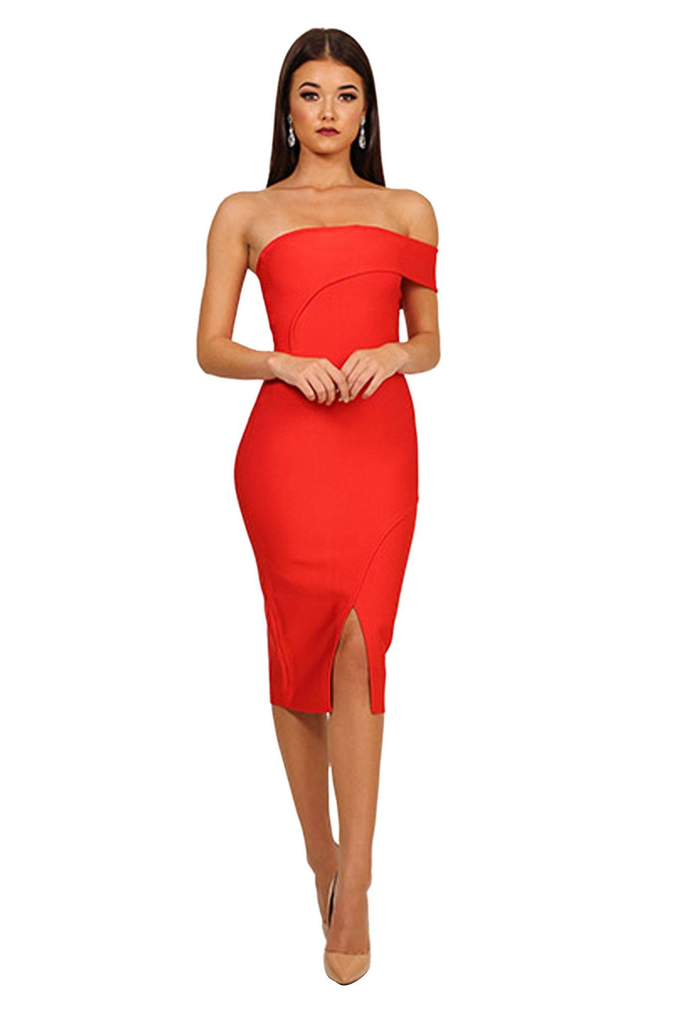 dbbc4e5fe68 Red one shoulder bodycon midi bandage dress with front slit