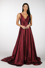 Deep Red V-Neck Satin Ball Gown with Open V Back