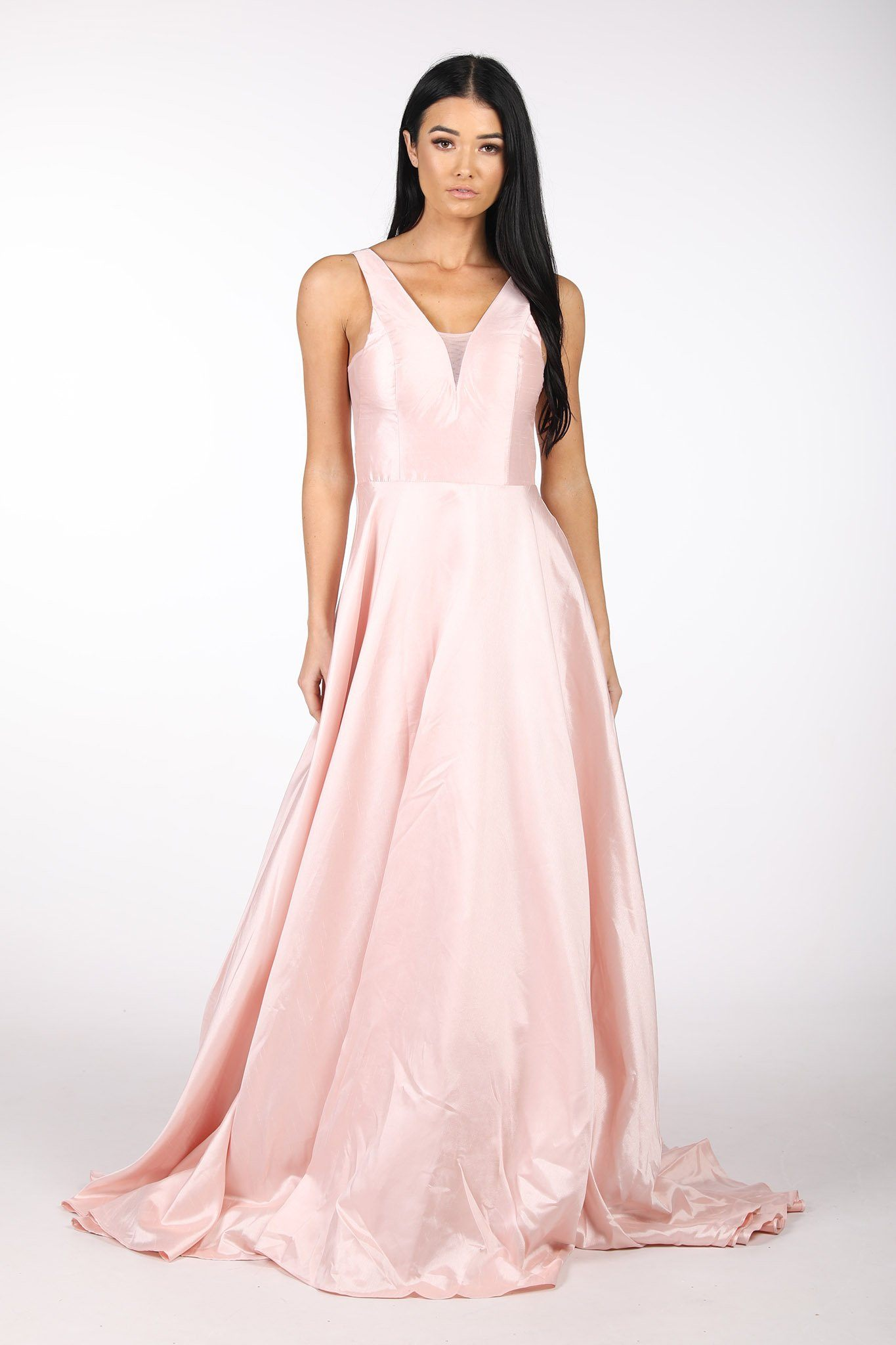 Light Pink V-Neck Open V Back Satin Ball Gown