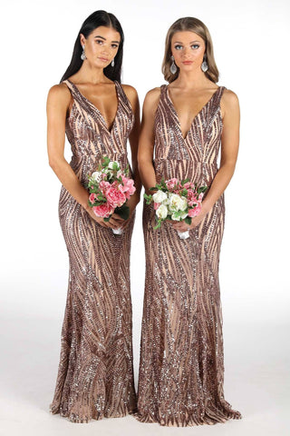 Sapphira Sequin Gown - Rose Gold