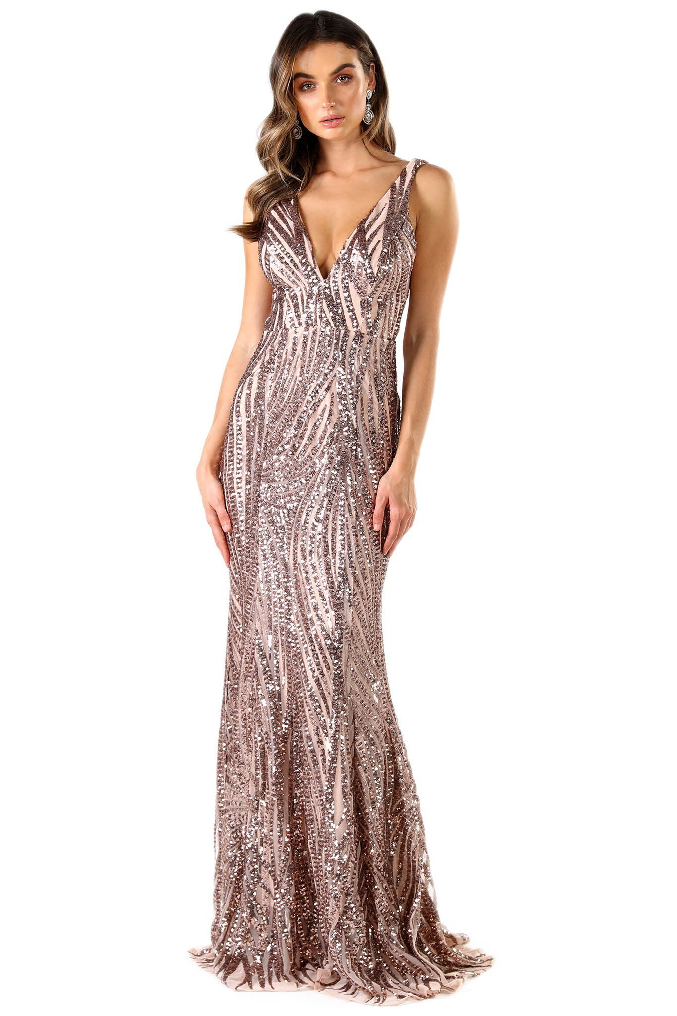 Rose Gold Floor Length Formal Sequin Gown with Wavy Stripes of Embroidered Rose Gold Sequins on Blush Pink Lining, V Plunge Neckline and Open Back Design