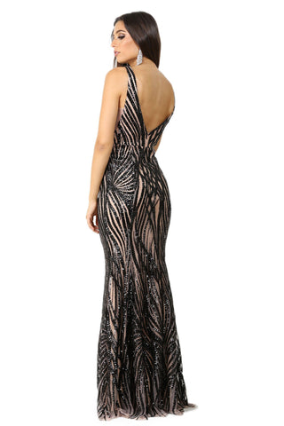 Sapphira Sequin Gown - Black & Beige