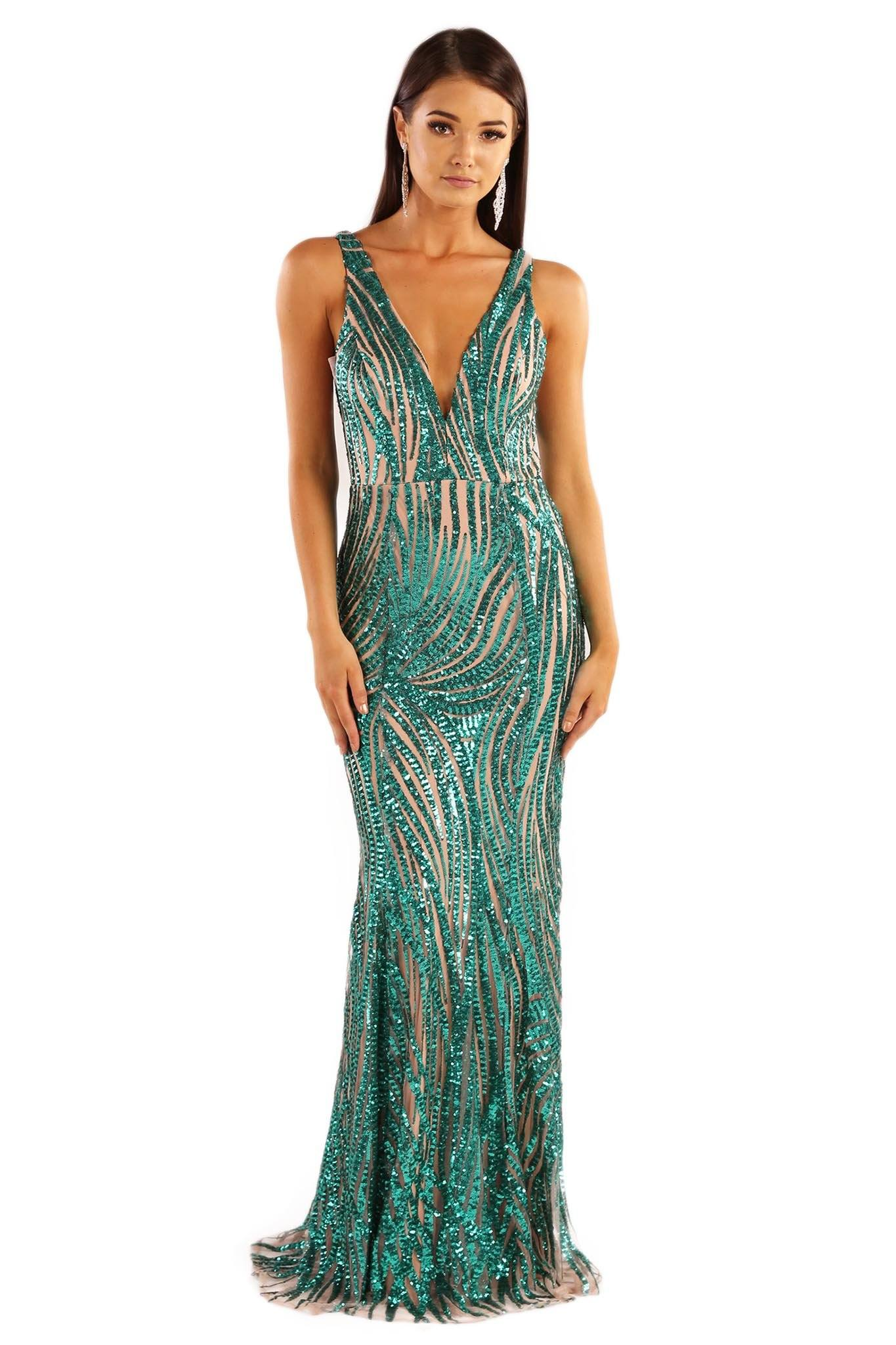 7c27911229 Front shot of emerald green sequin sleeveless formal gown with beige lining  with v plunge neckline