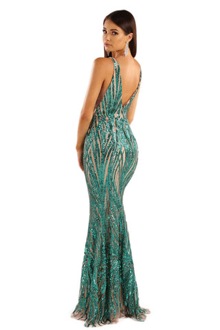 Sapphira Sequin Gown - Emerald Green