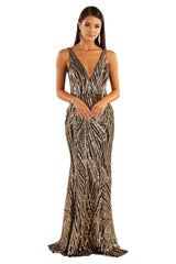 Front shot of gold and black sequin formal sleeveless gown with v plunge neckline and open back design