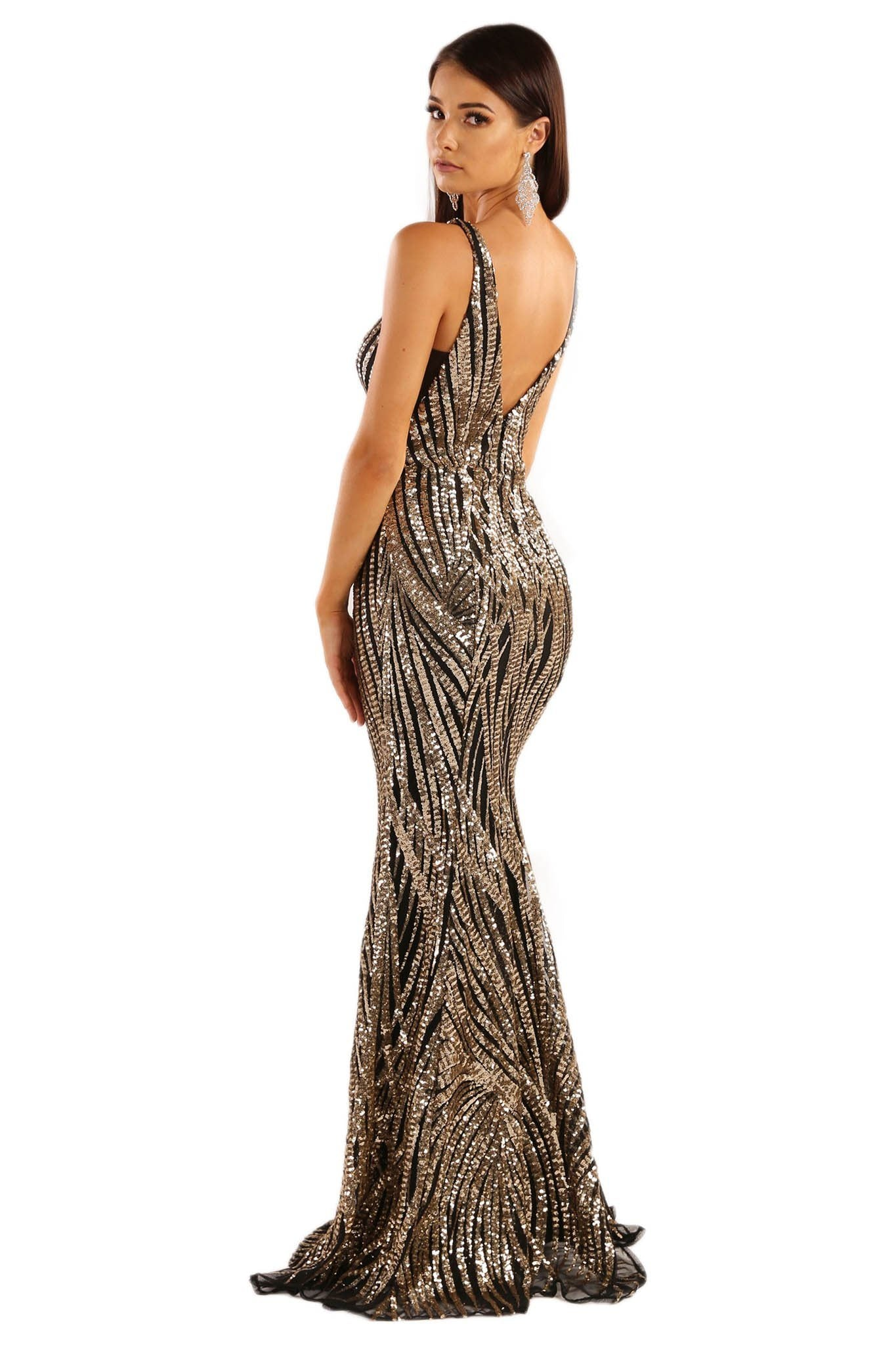 4c58646b8a3 ... V Shape Open Back Design of Gold and Black Floor Length Formal Sequin  Gown with Wavy ...