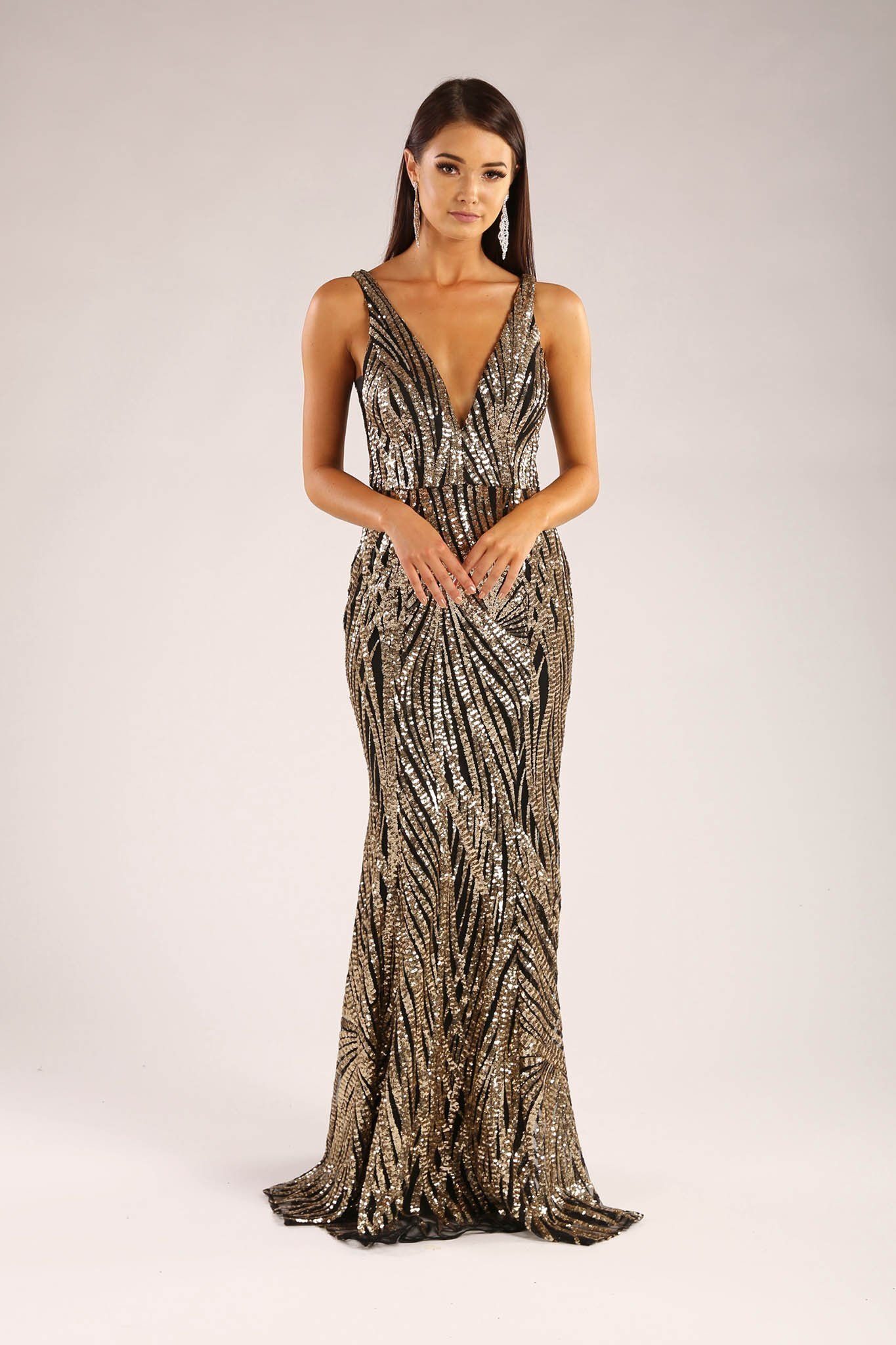 888b1e917f ... Gold and black sequin formal sleeveless gown with v plunge neckline and  open back design ...