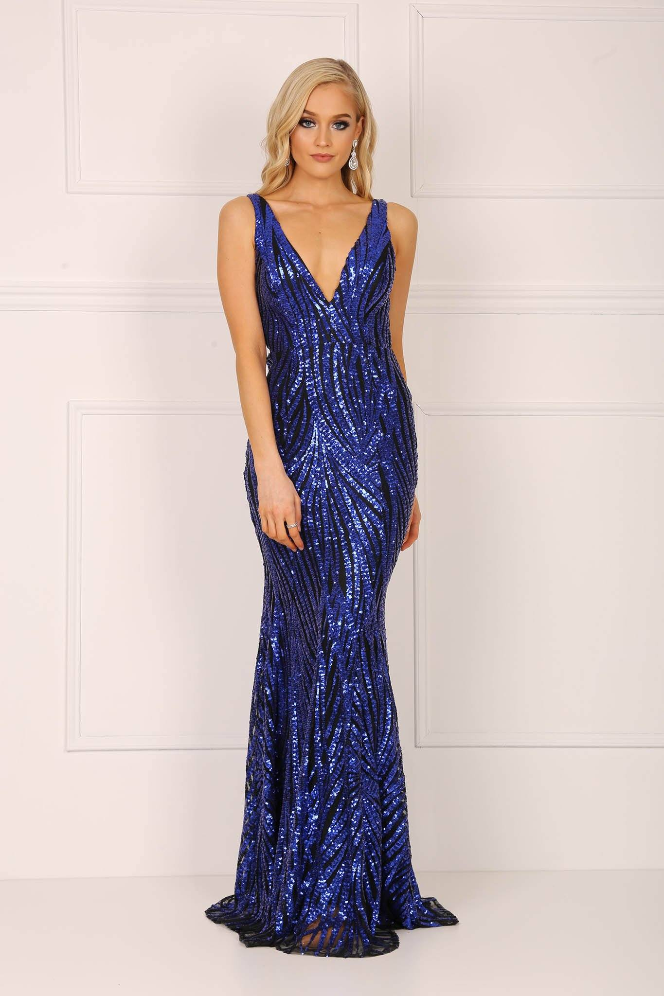 Navy embroidered sequin formal sleeveless gown with v plunge neckline and open back design