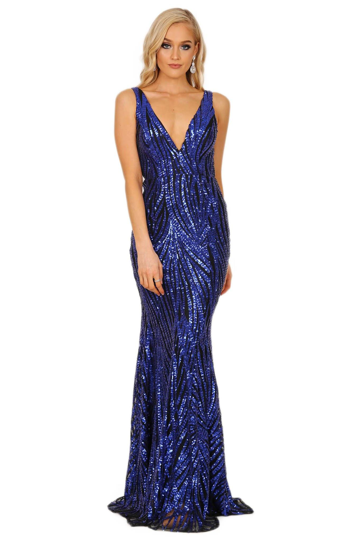 0d6653231c Royal Blue Floor Length Formal Sequin Gown with Wavy Stripes of Embroidered  Royal Blue Sequins on