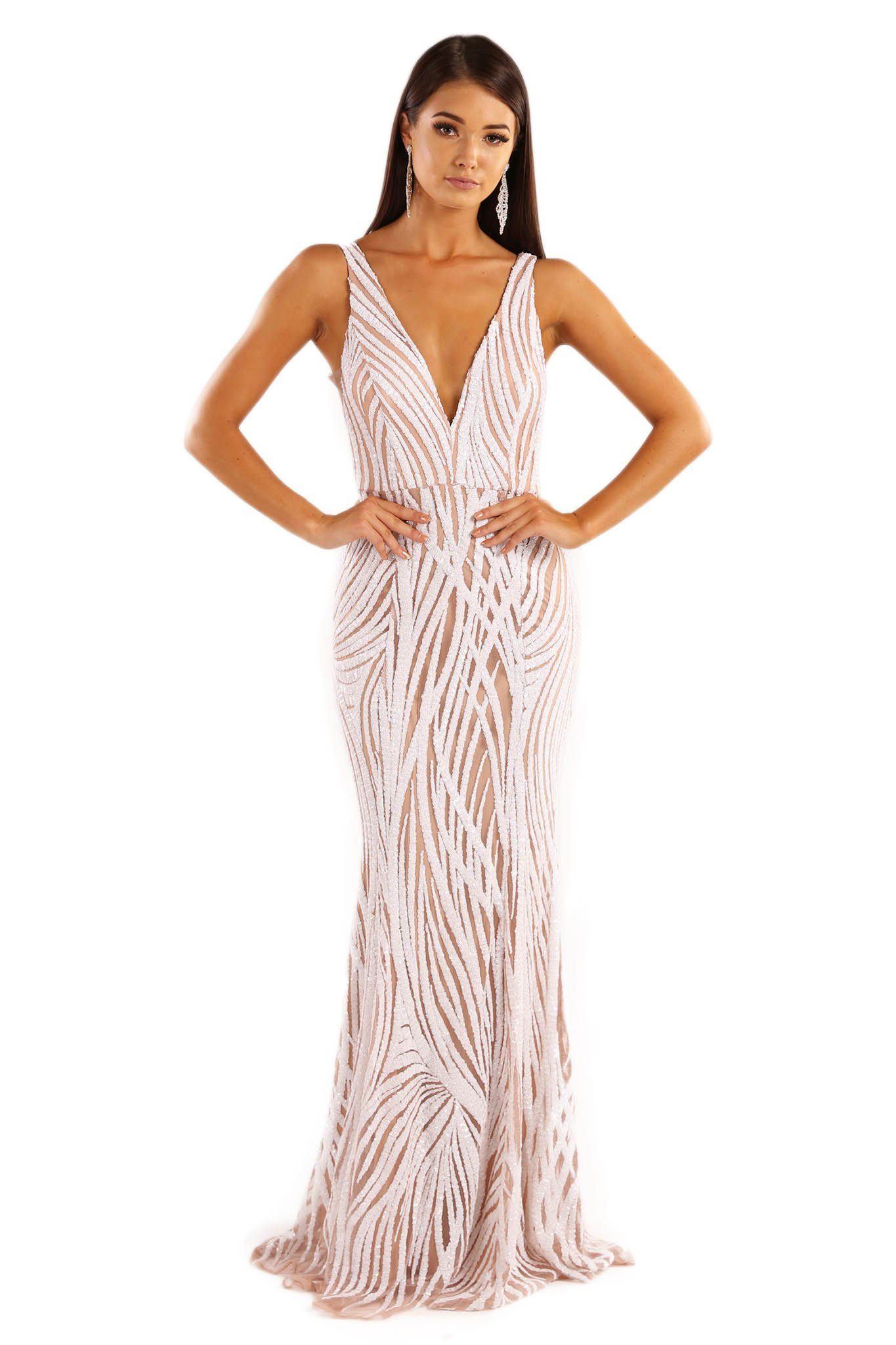 Front shot of white and beige sequin formal sleeveless gown with v plunge neckline and open back design