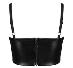 Kim Leatherette Crop Top - Black