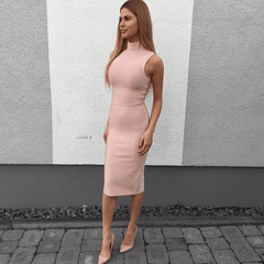 Pastel pink sleeveless midi bandage dress featuring high neck design