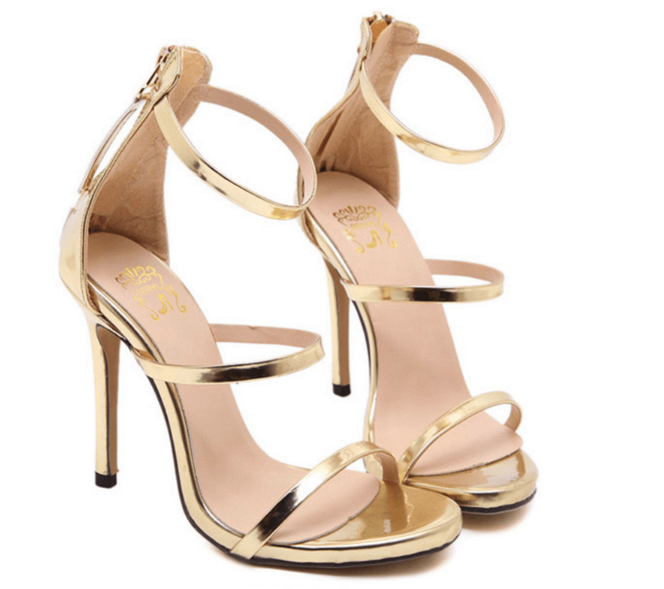 Gold color patent leather high heel sandals strappy ankle-wrap style