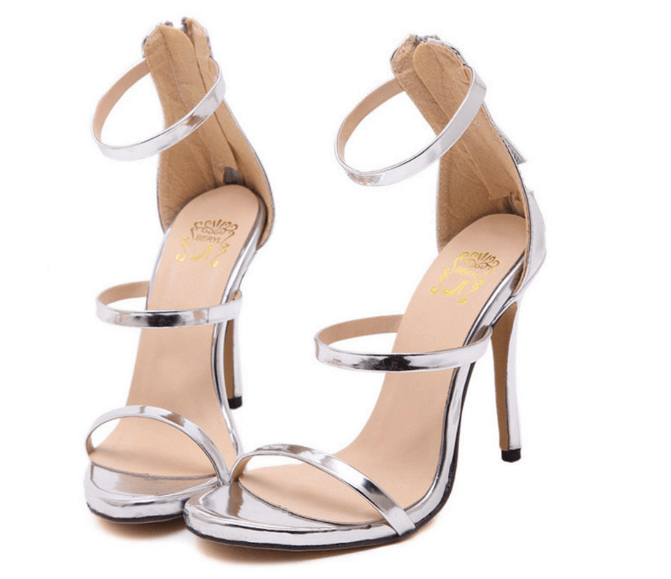 Silver color patent leather high heel sandals strappy ankle-wrap style