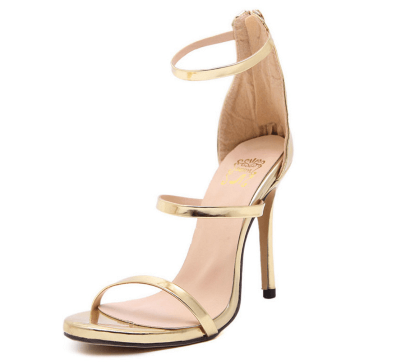 fc7a3468be39 ... Gold color patent leather high heel sandals strappy ankle-wrap style ...