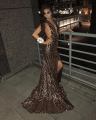 Goddess Geometric Sequin Gown - Gold/Black