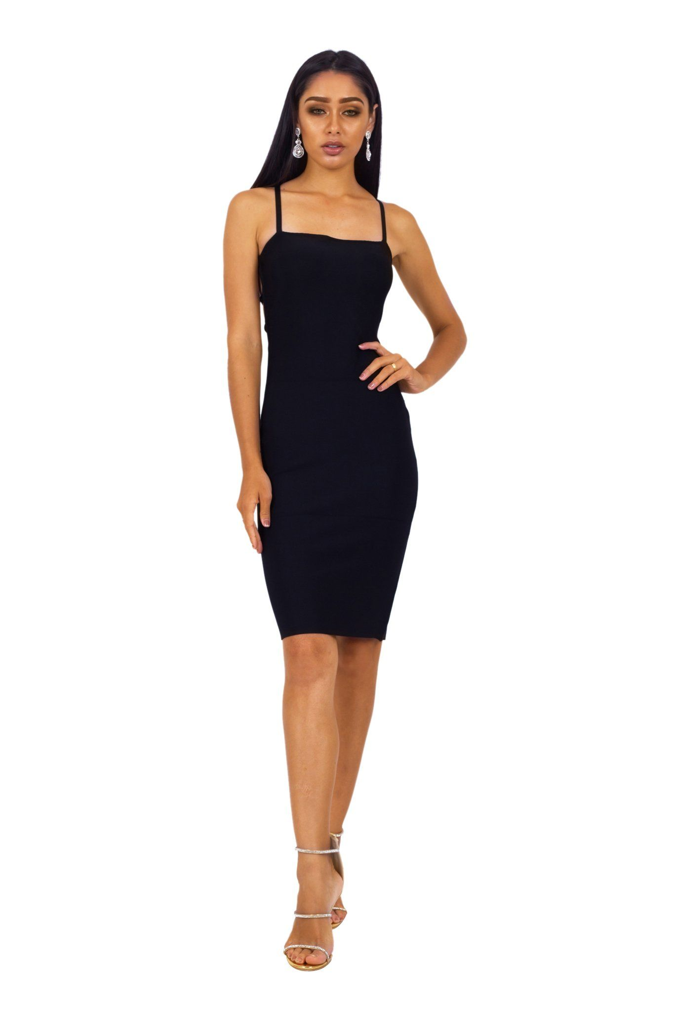 Black knee length bodycon bandage dress with square neckline and lace-up back design