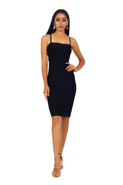 Serena Lace Up Dress - Black