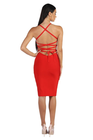 Serena Lace Up Dress - Red