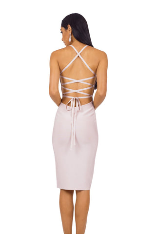 Serena Lace Up Dress - Nude