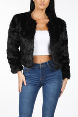 Close Up Image of Black Shaggy Faux Fur Collarless Cropped Jacket