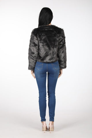 Shaggy Faux Fur Jacket - Grey